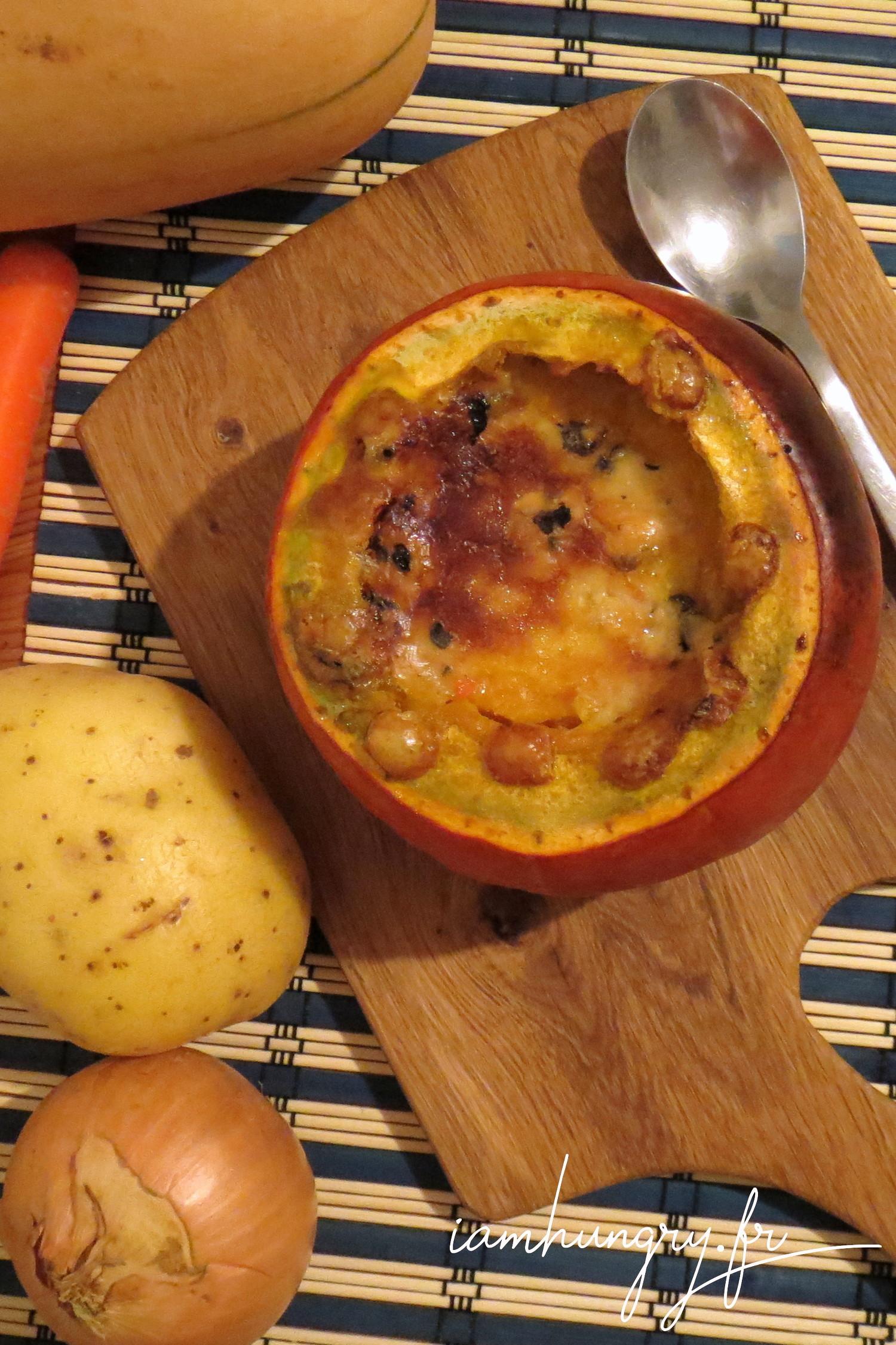 Soupe de potimarron gratinée
