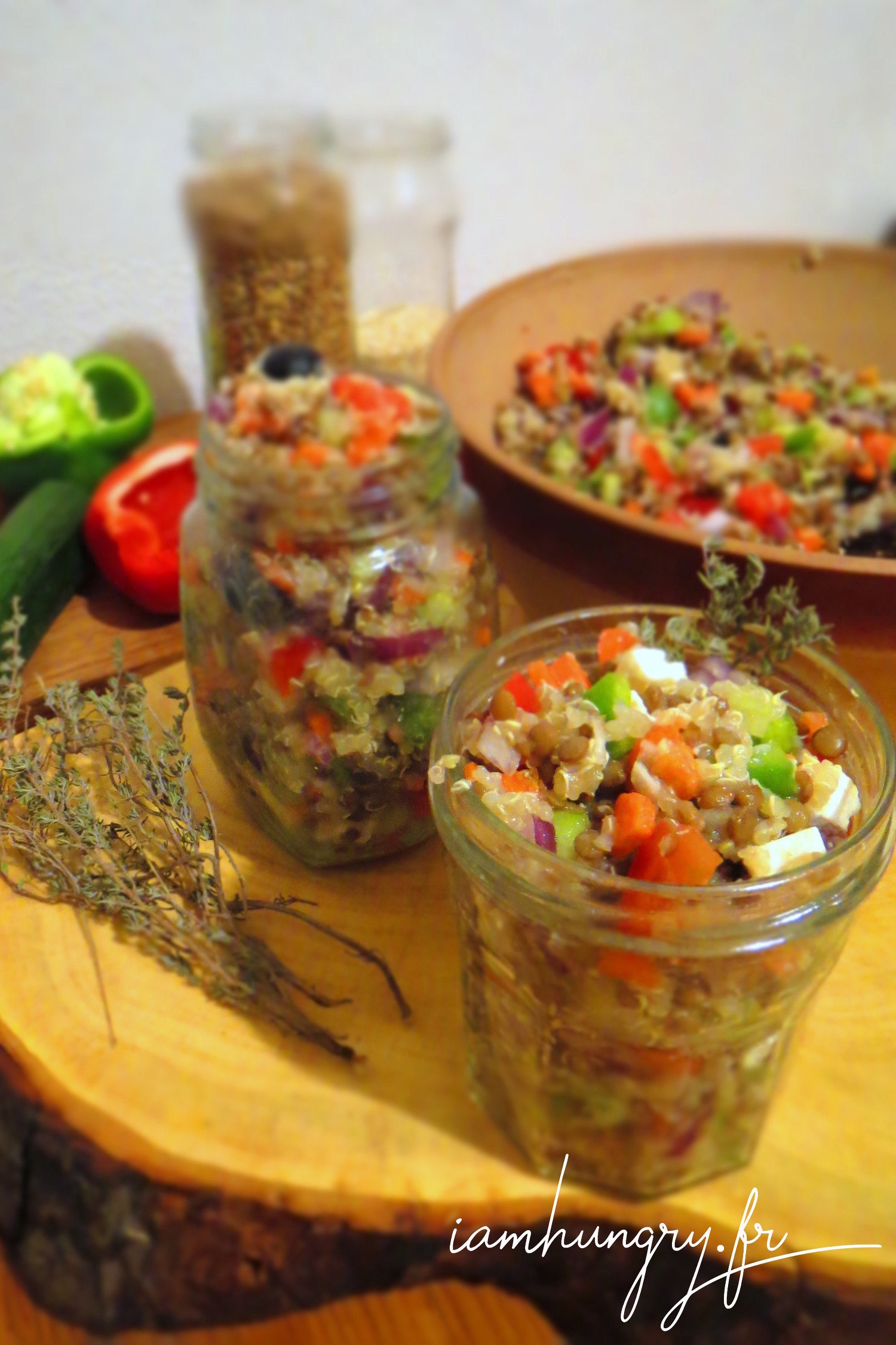 Raw vegetables salad with quinoa and lentil