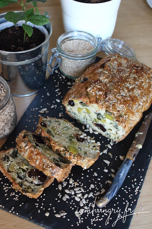 Leek olive and feta cheese cake