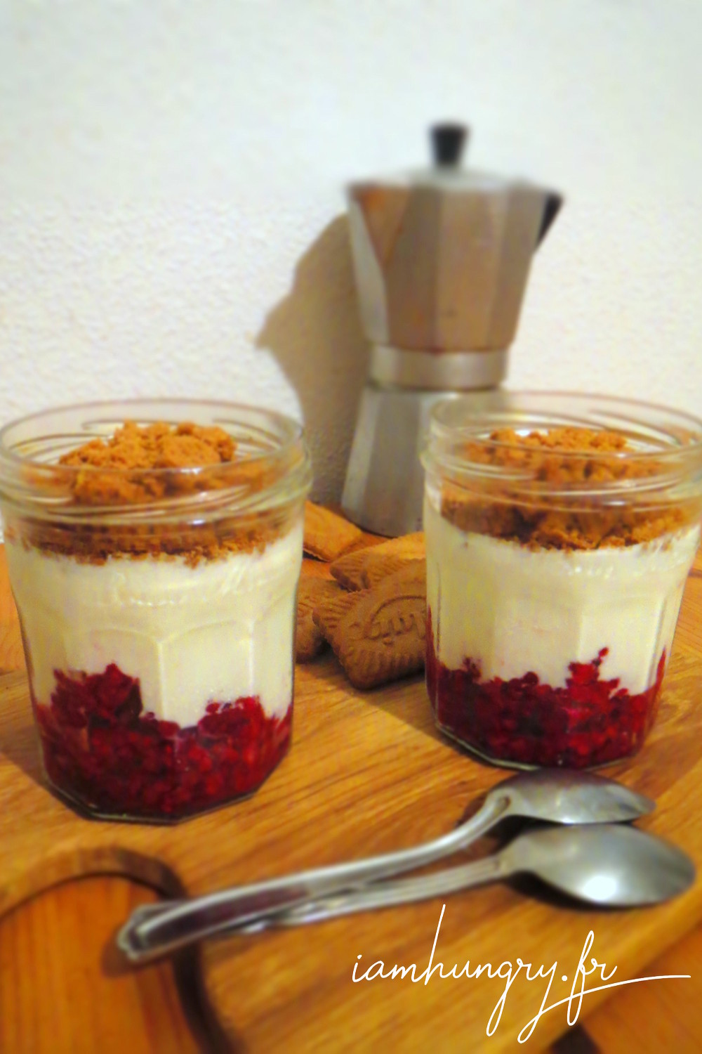 Verrine framboise fromage blanc speculoos