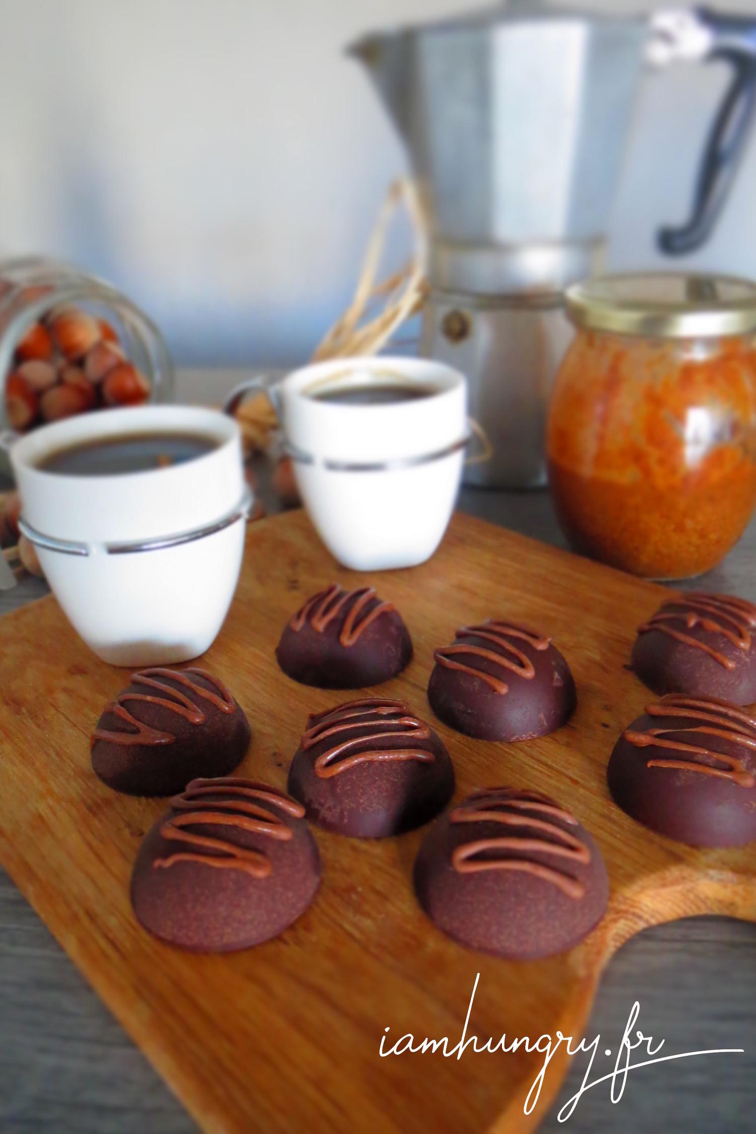 Chocolats au praliné et surprise noisettes