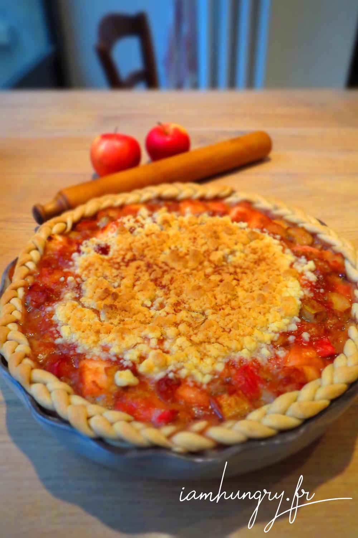 Tarte pomme rhubarbe crumble
