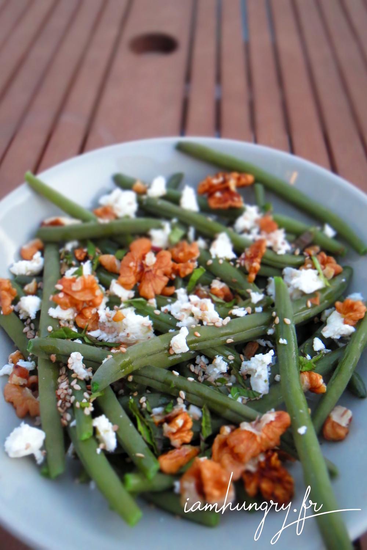 Salade haricot feta noix