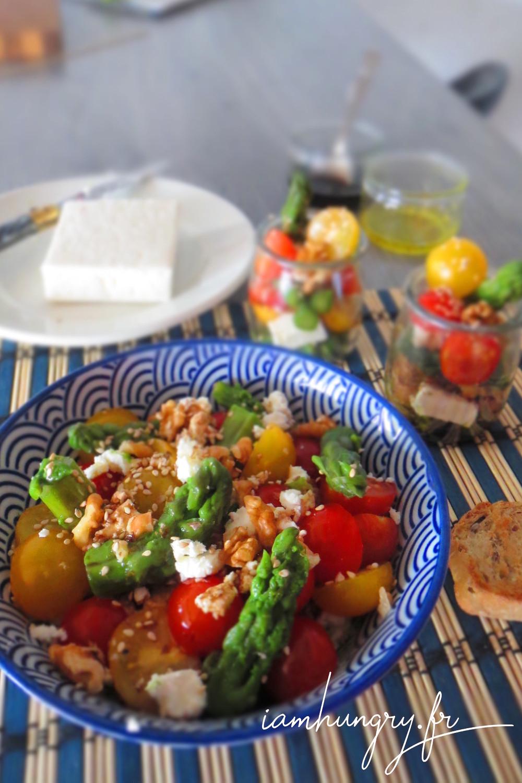 Salade asperges tomates feta