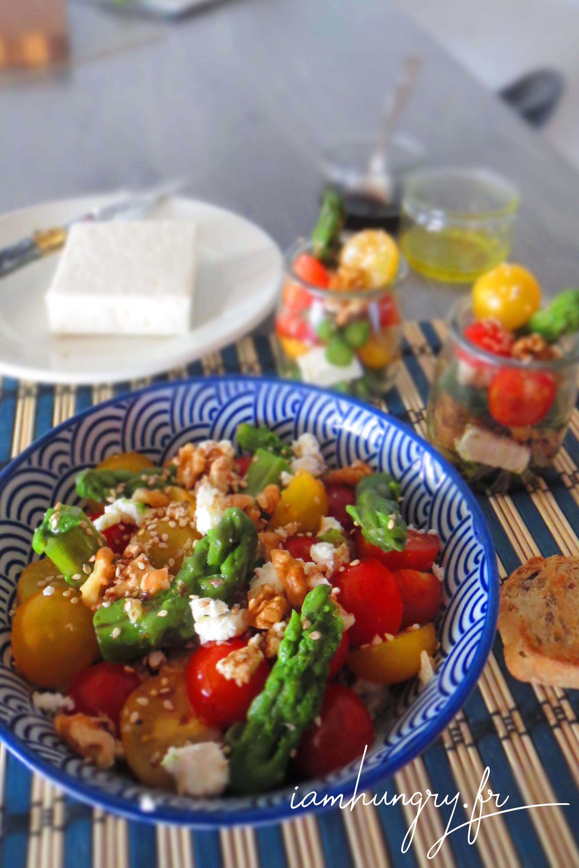 Salades d'asperges tomates cerises et féta