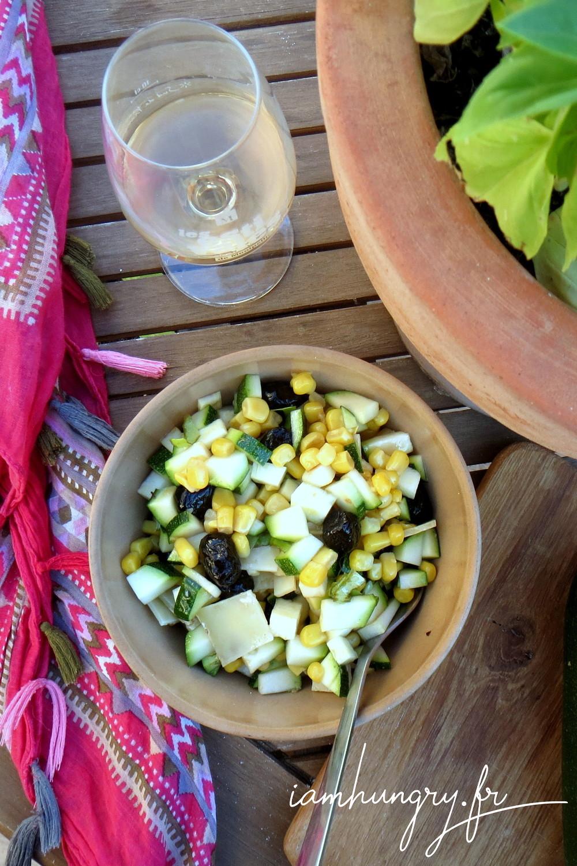Salade courgette mais feta