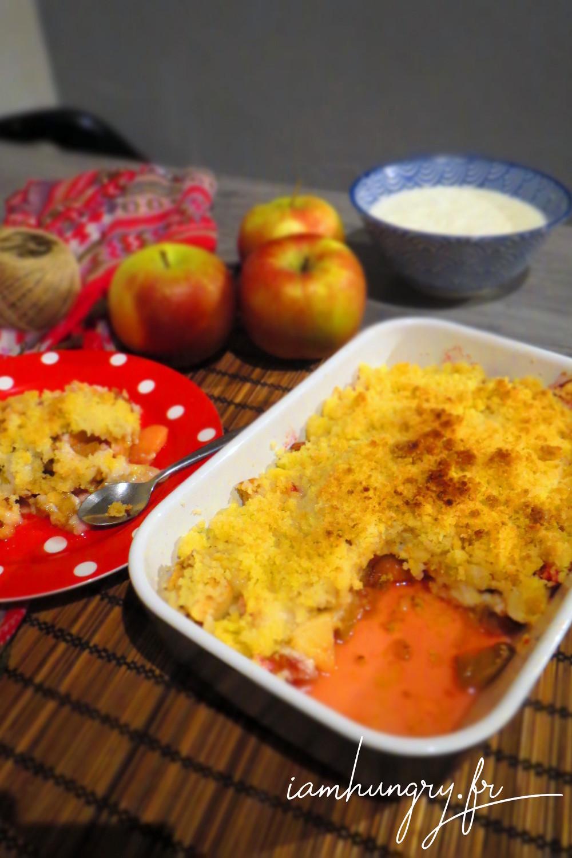 Crumble pommes rhubarbe