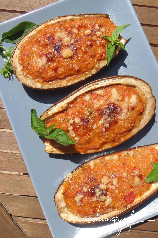 Aubergines farcies tomates parmesan