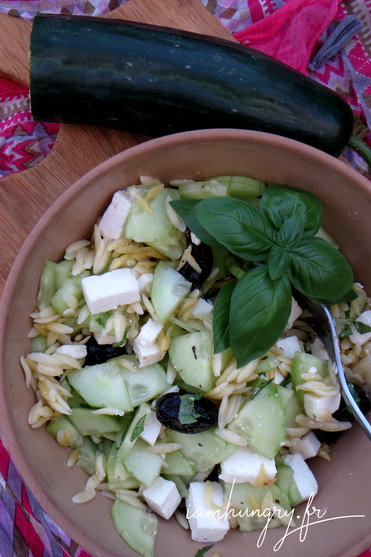 Salade d'orzo verte et blanche