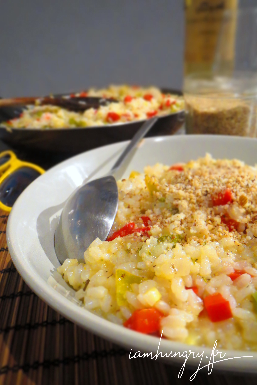 Risotto aux poivrons et parmesan végétal