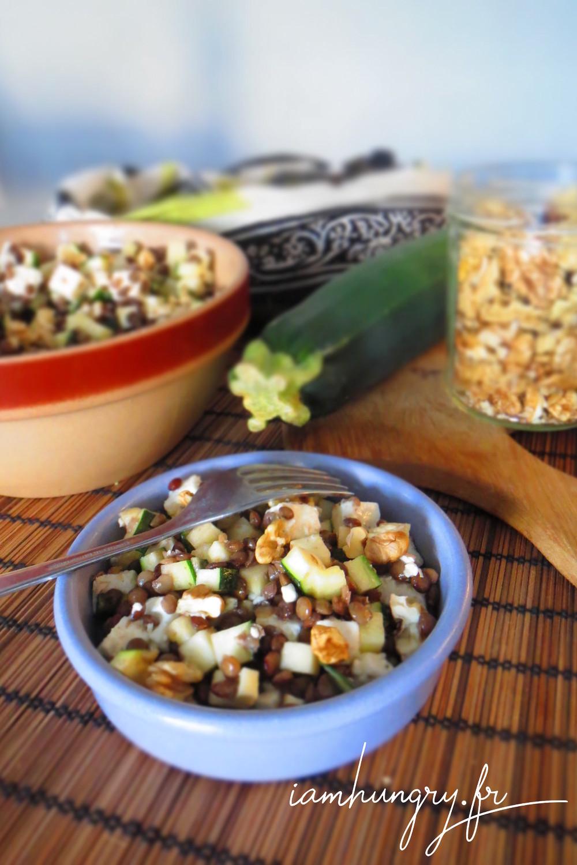 Salade lentille courgette feta noix