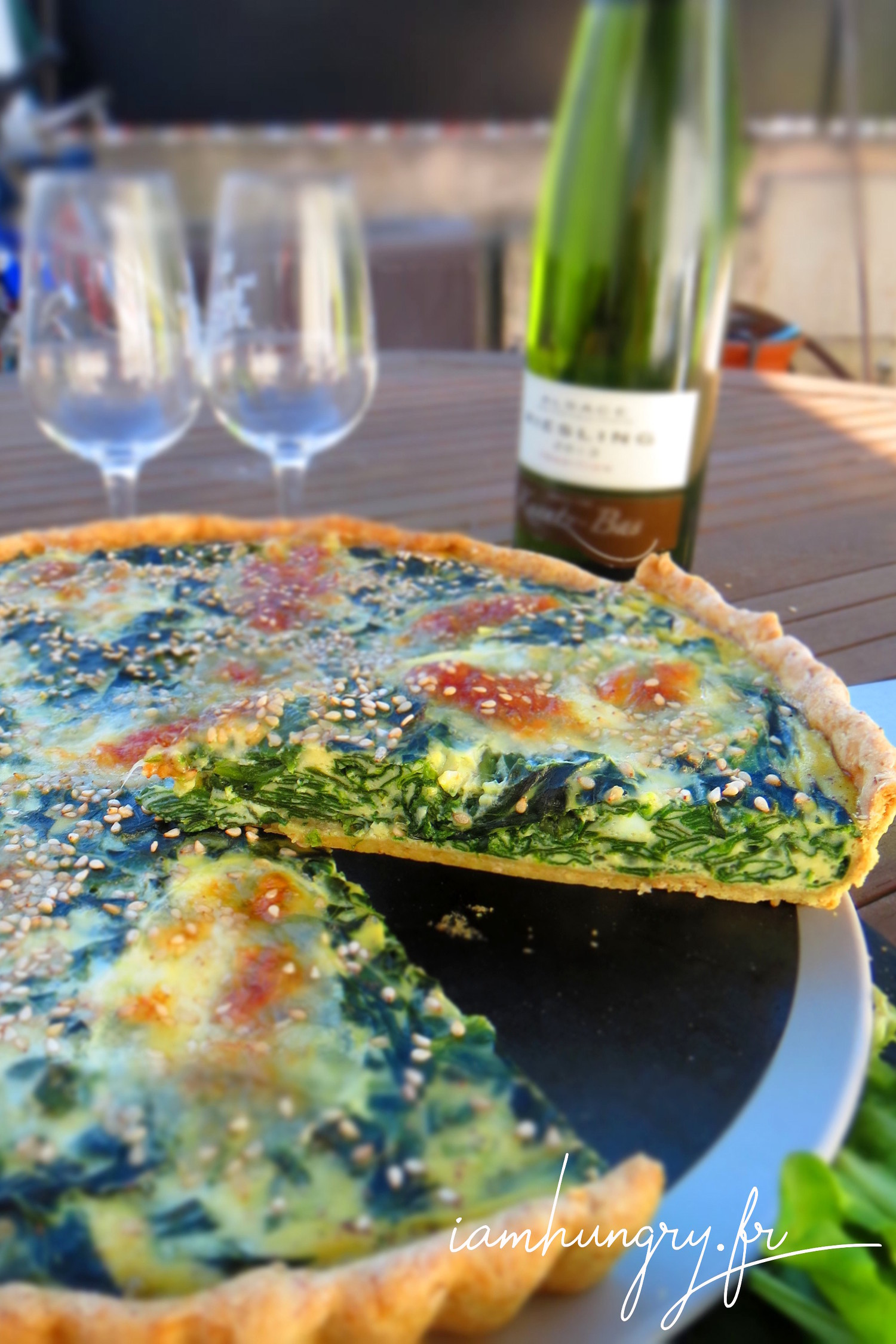 Spinach and mozzarella quiche