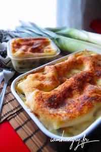 Lasagnes poireaux che%cc%80vre