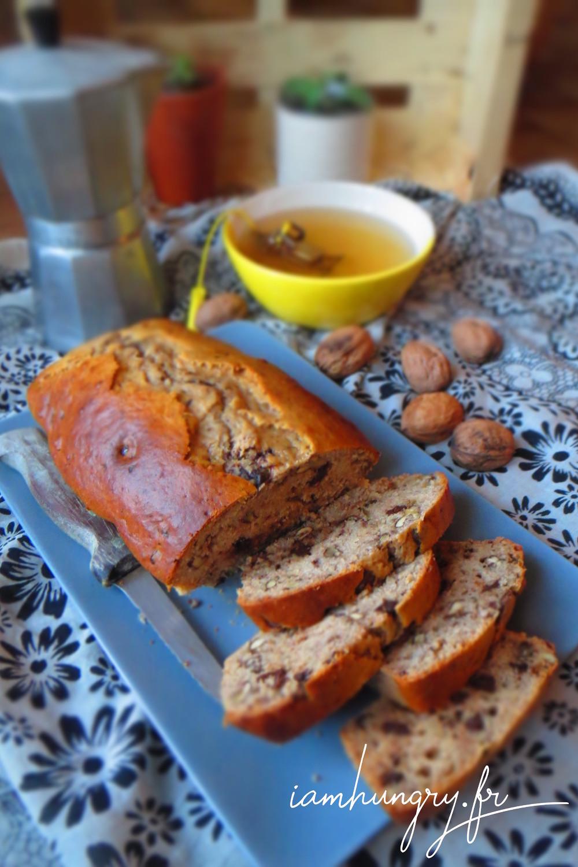 Banana bread chocolat noix