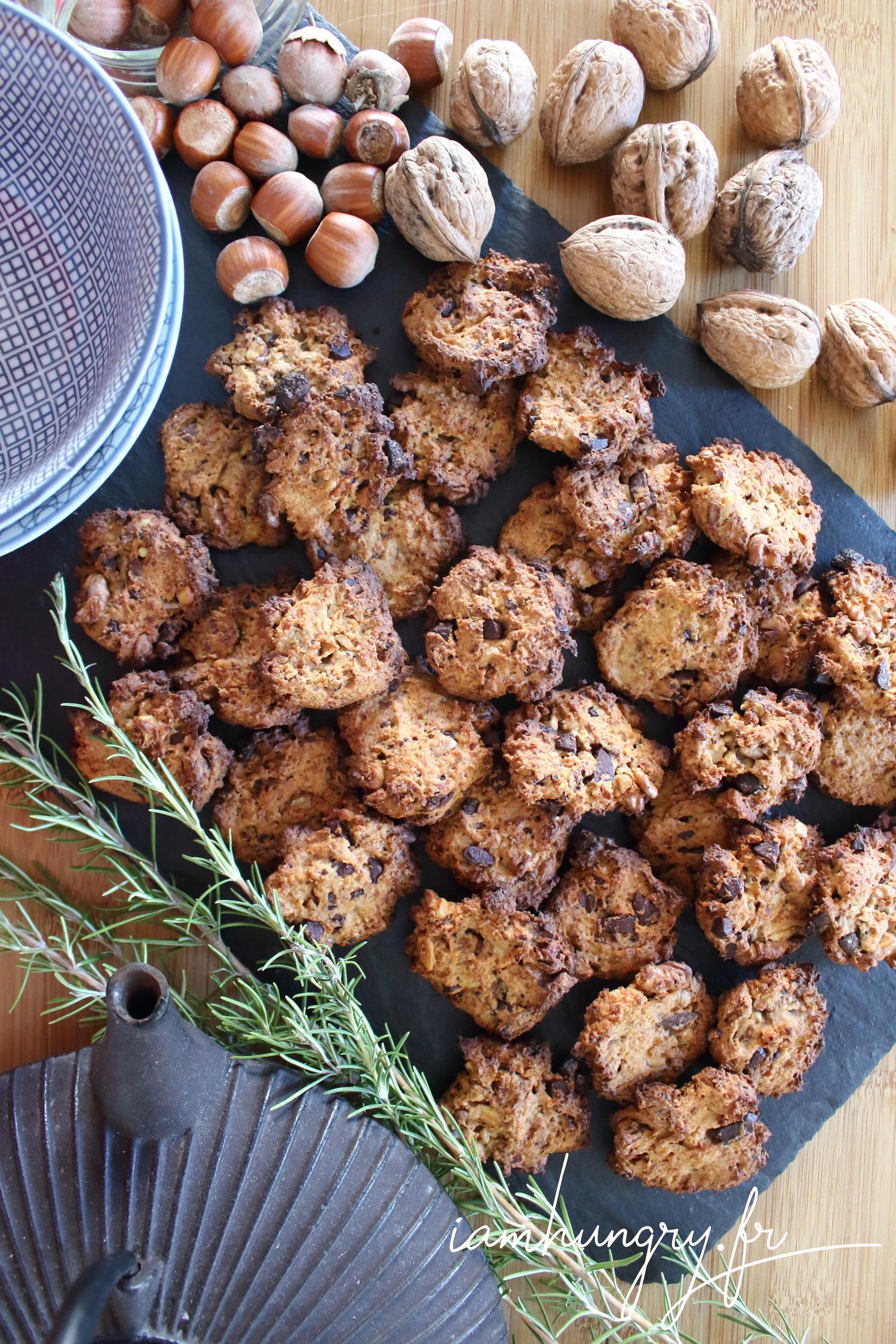 Biscuits à l'okara et pépites de chocolat et de noisettes
