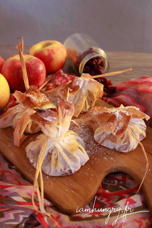 Aumônières aux pommes et cranberries