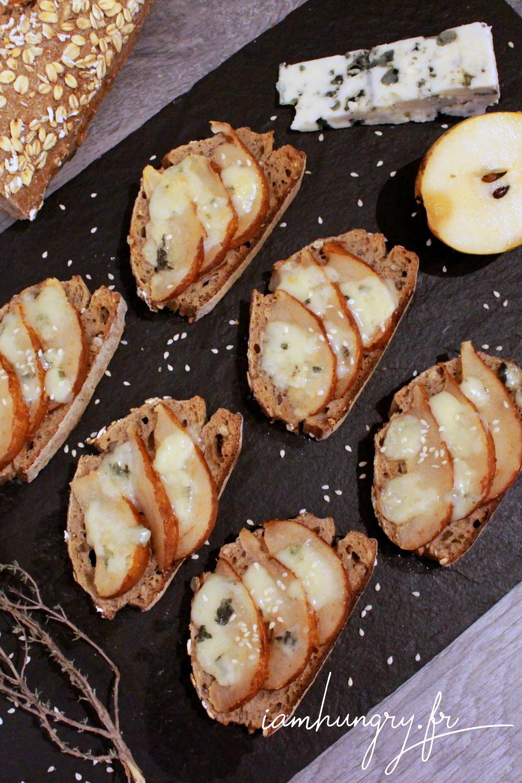 Tartine poire roquefort