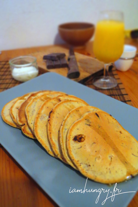 Pancakes au lait d'amande et aux pépites de chocolat