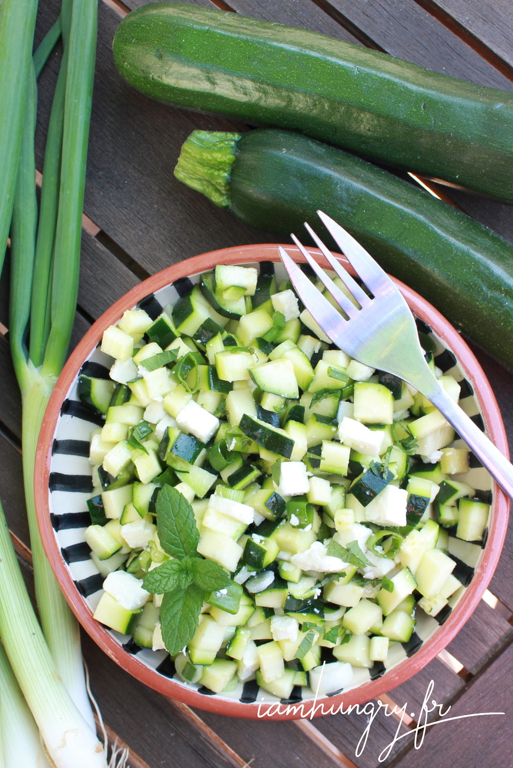 Salade courgette feta menthe