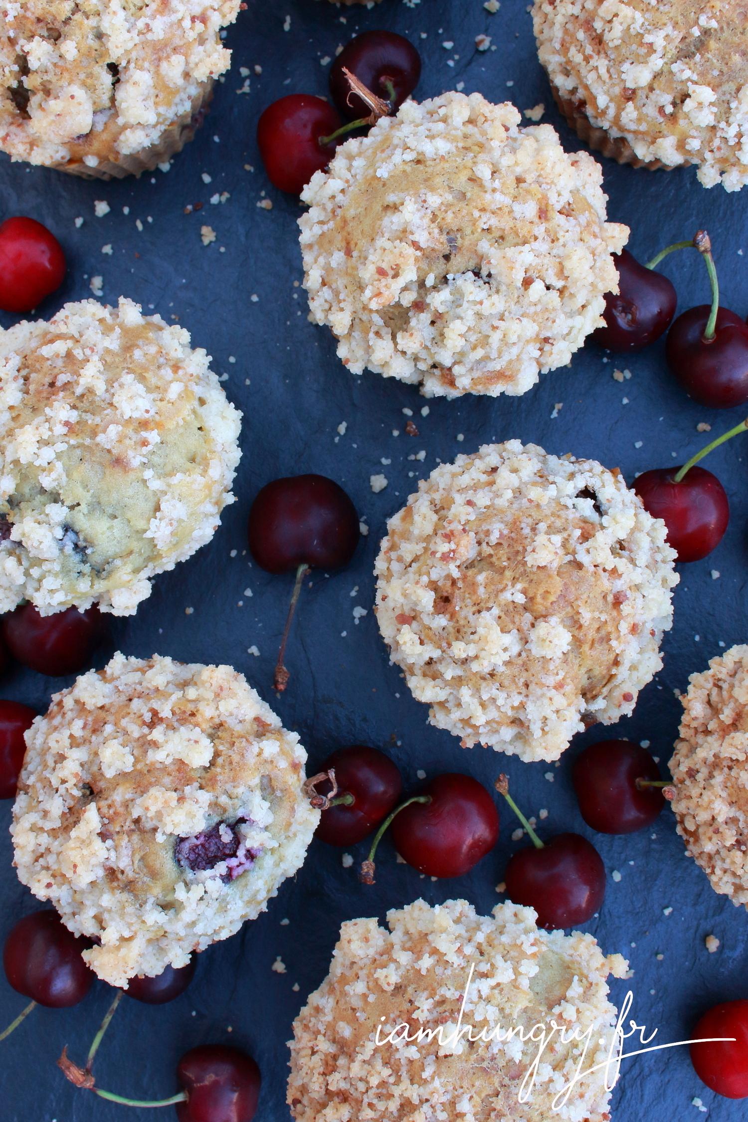 Muffins cerises amandes