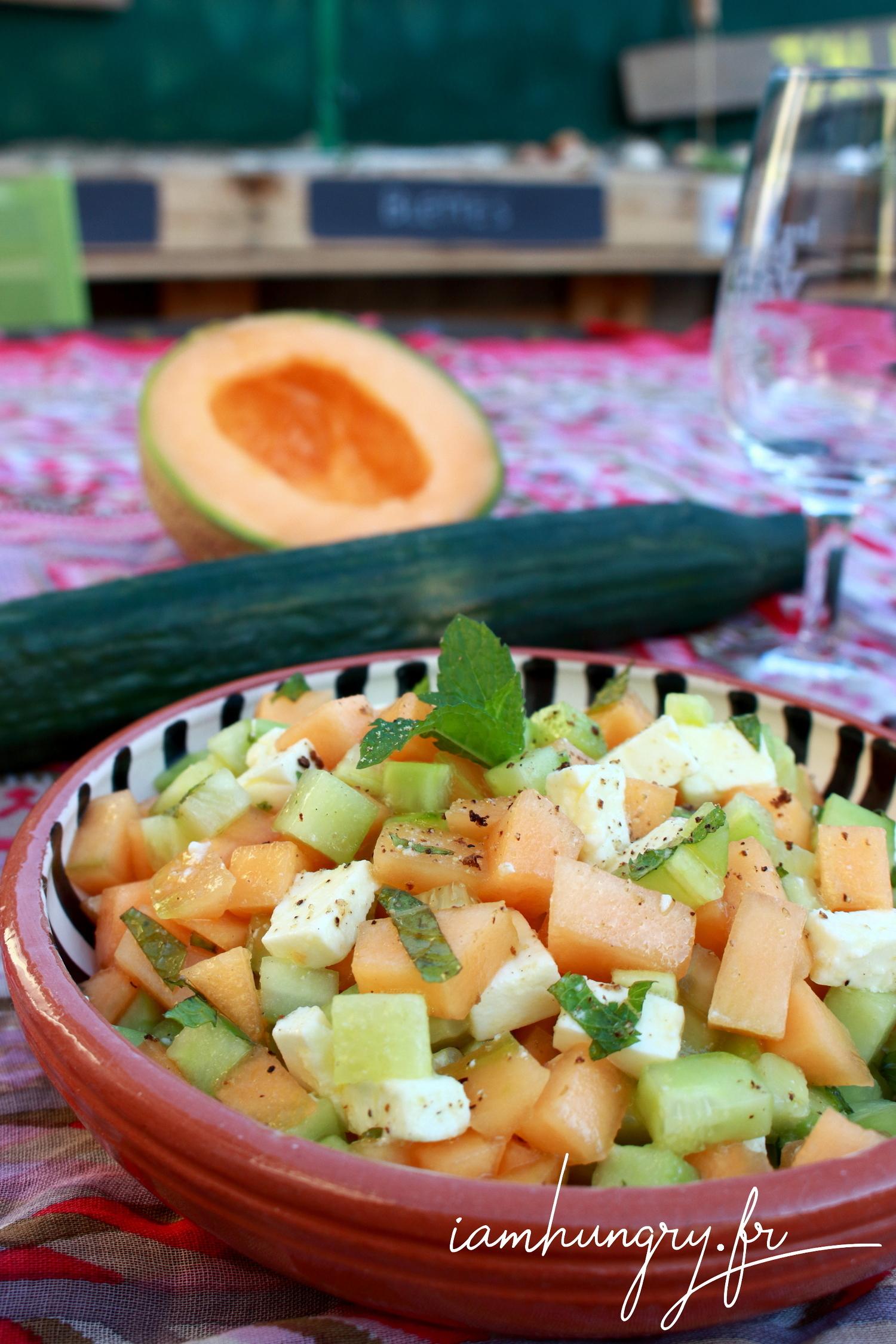 Salade de melon concombre et féta