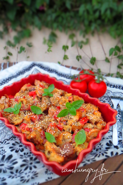Gratin de pain perdu aux tomates et basilic