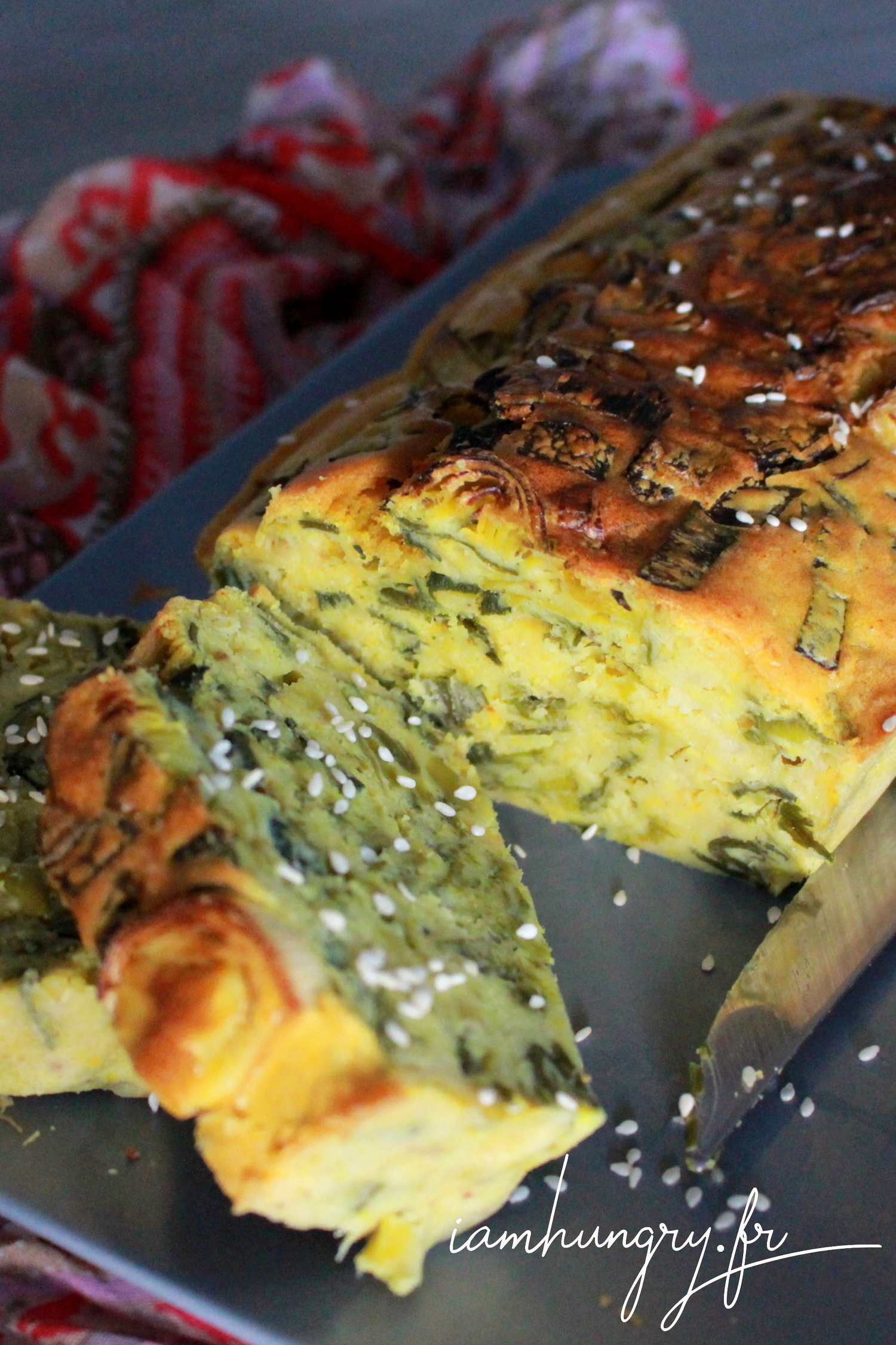 Leek and curry cake