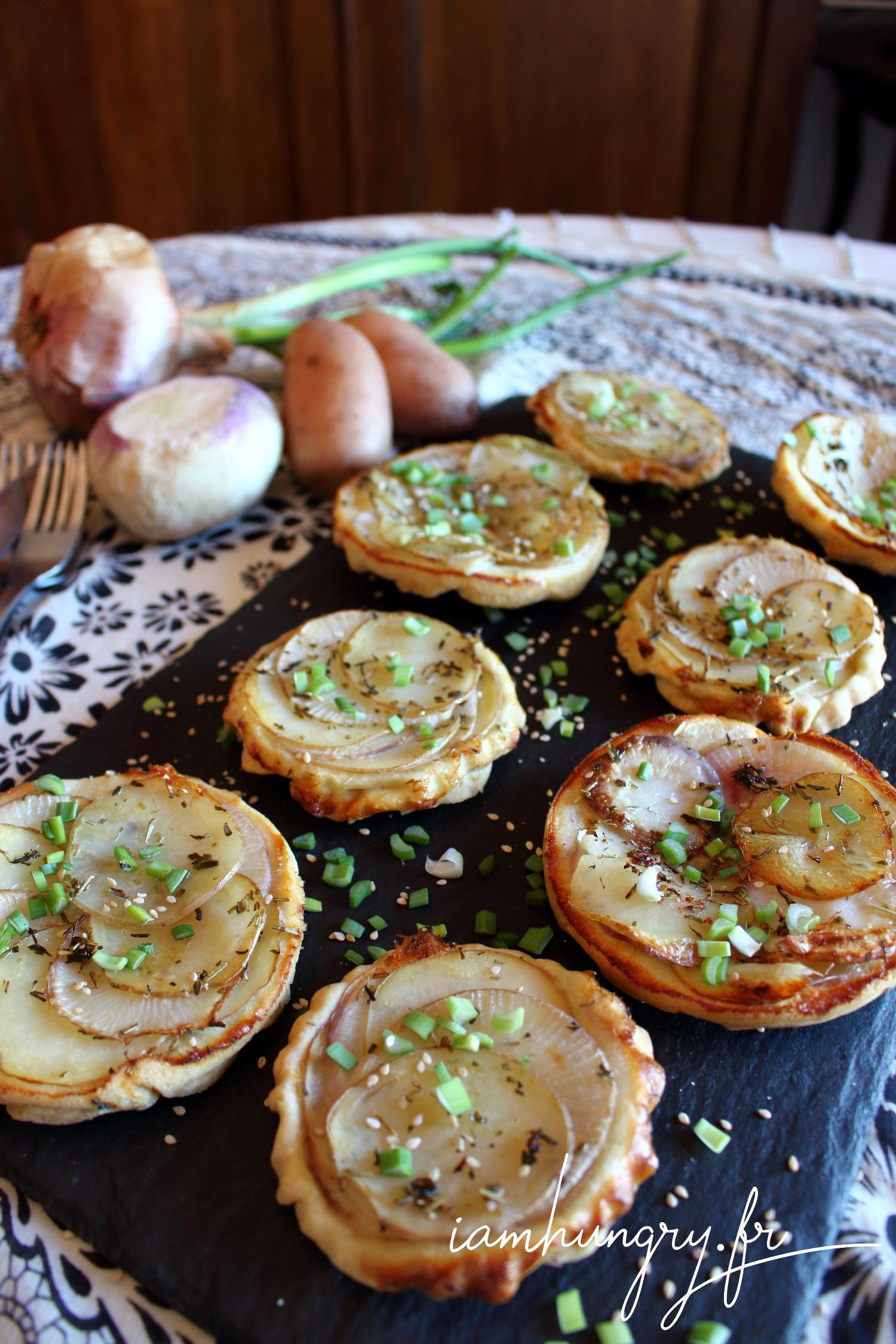 Petites tatins de navets et patates
