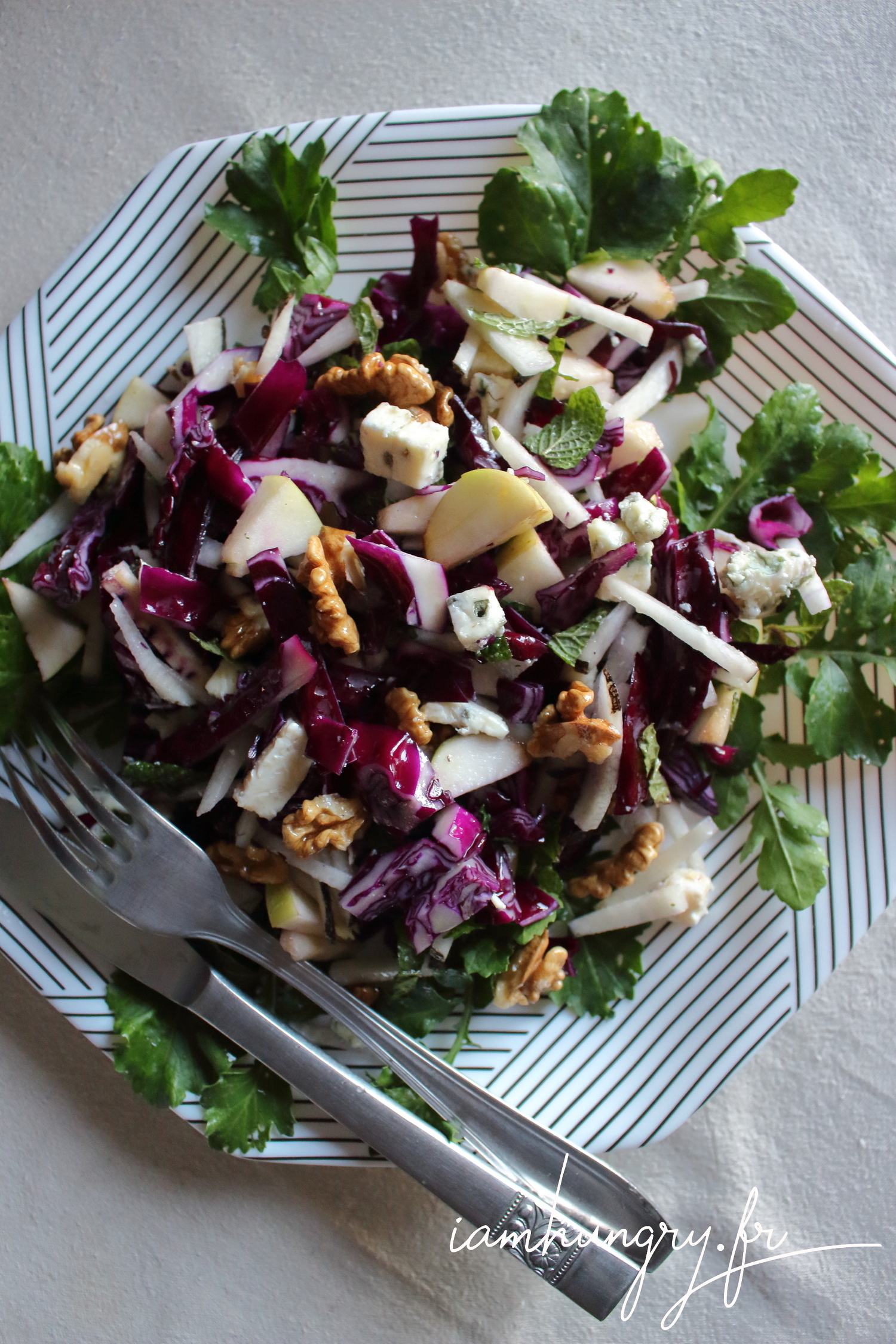 Salade de choux rouge pomme et roquefort