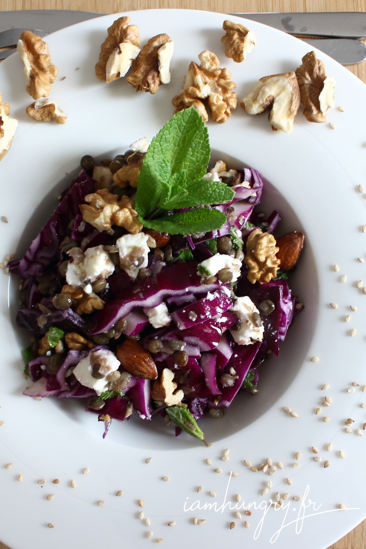 Salade choux rouge fe%cc%81ta lentilles amandes 1b