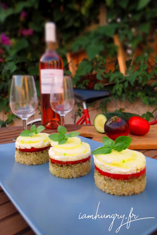 Salade quinoa pesto tomate concombre