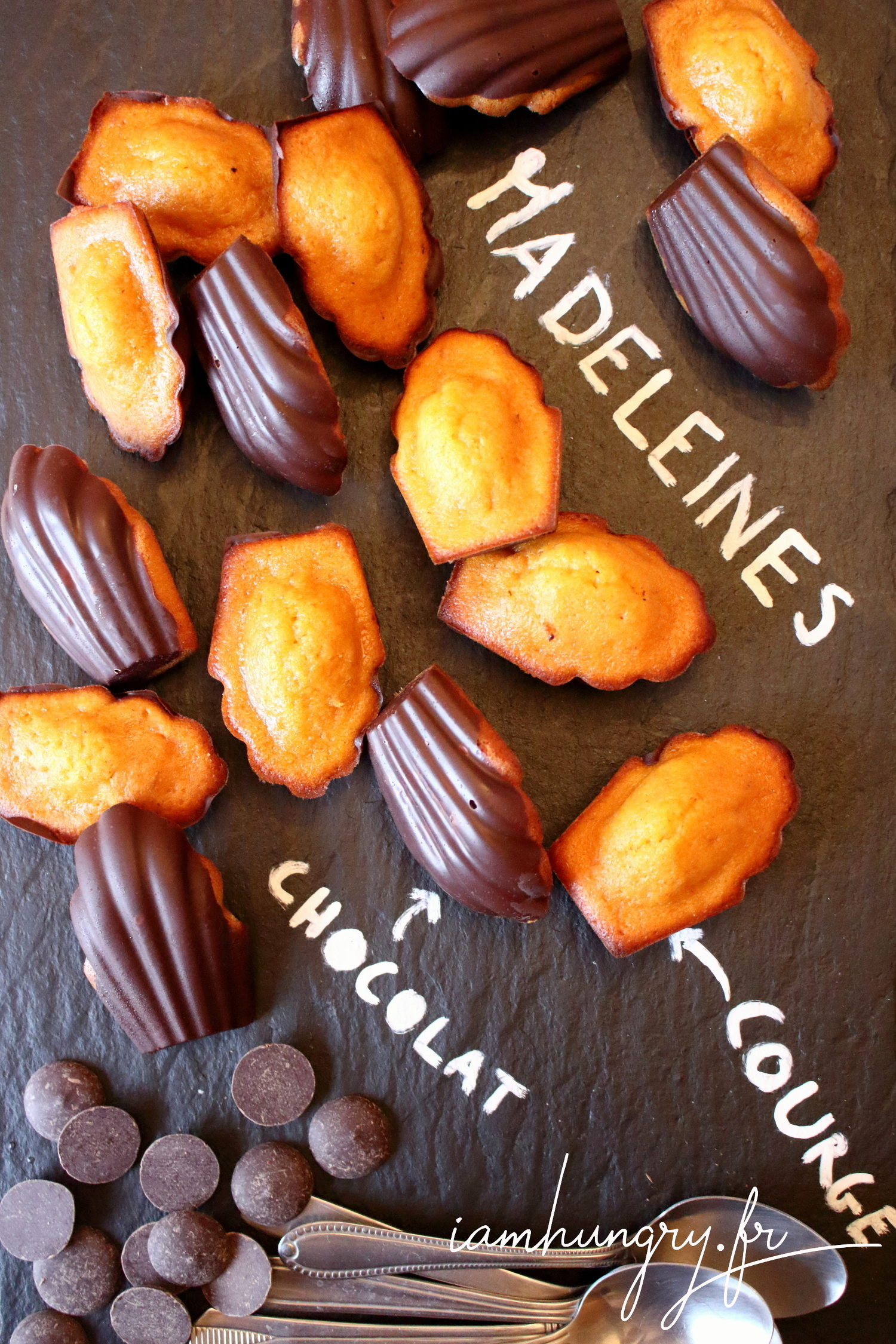 Madeleines courge et coque en chocolat
