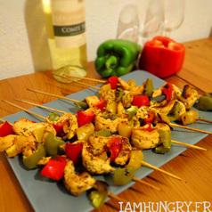 Brochettes poulet marine1