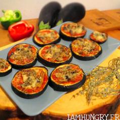 Pizza sur aubergines 1