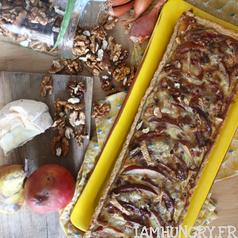 Tarte poire noix roquefort carre