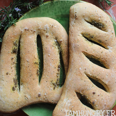 Fougasse romarin gros sel levain carre