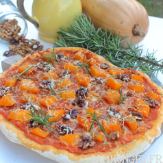 Pizza courge noix carre