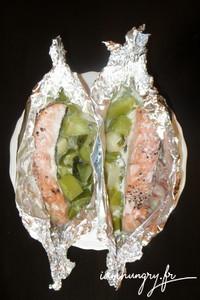 Papillotes saumon poireaux