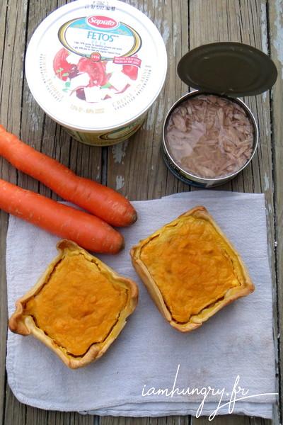 Quiche de purée de carottes et thon