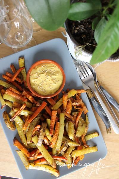 Frites de patates douces, pommes de terre et carottes