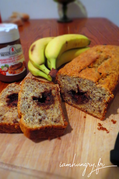 Banana bread fondant au nutella
