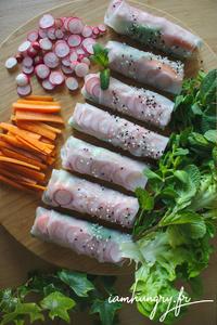 Rouleaux de printemps radis carottes rect