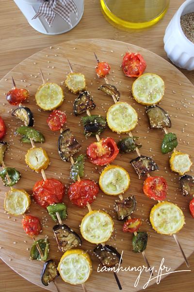 Brochettes de légumes marinés au barbecue