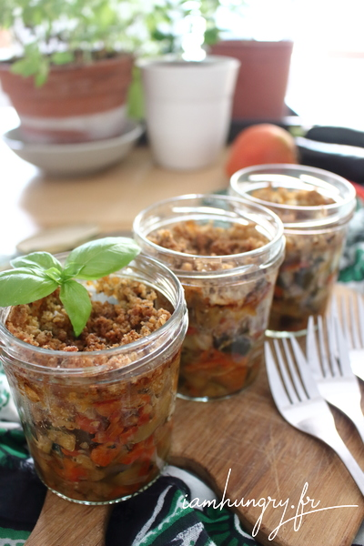Ratatouille and goat cheese crumble