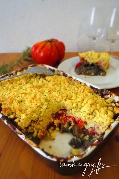 Crumble de tomates chèvre et aubergines
