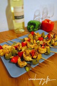 Brochettes de poulet poivrons
