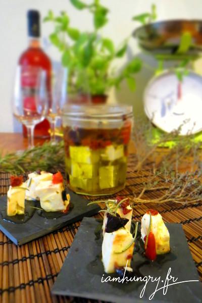Féta marinée à l'huile d'olive