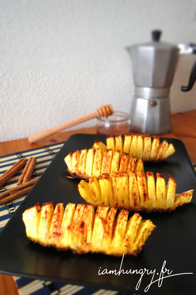 Roasted pineapple with honey and cinnamon