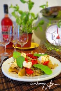 Salade quinoa feta poivrons marine%cc%81e
