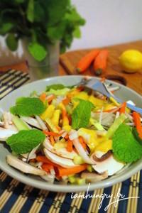 Salade radis noir carotte champi